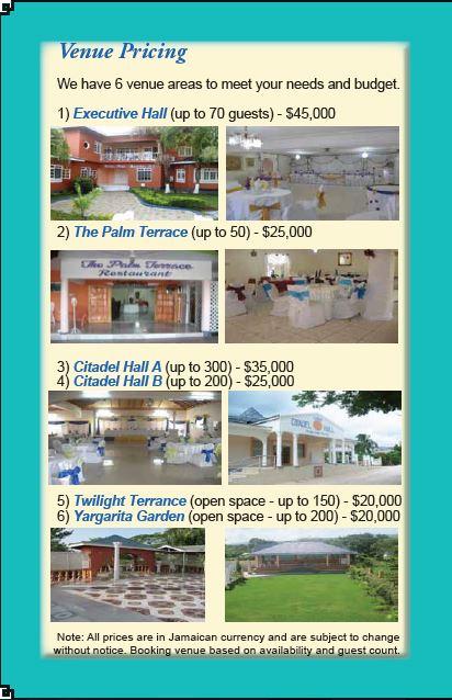 Menu Venue Pricing