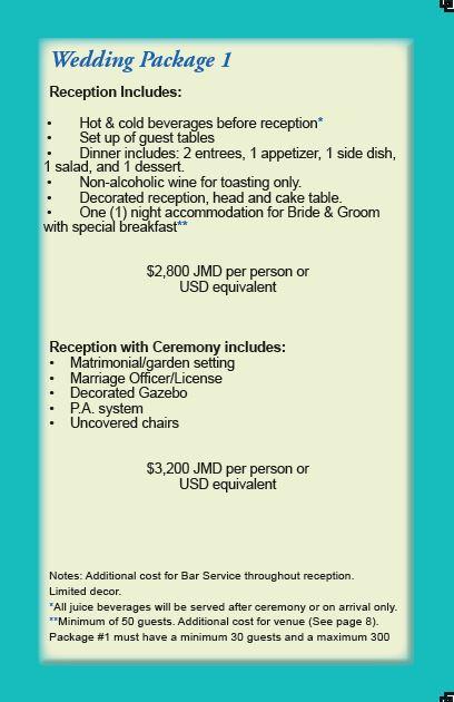 Bridge Palm Hotel Wedding Packages Jamaica Cost Ideas